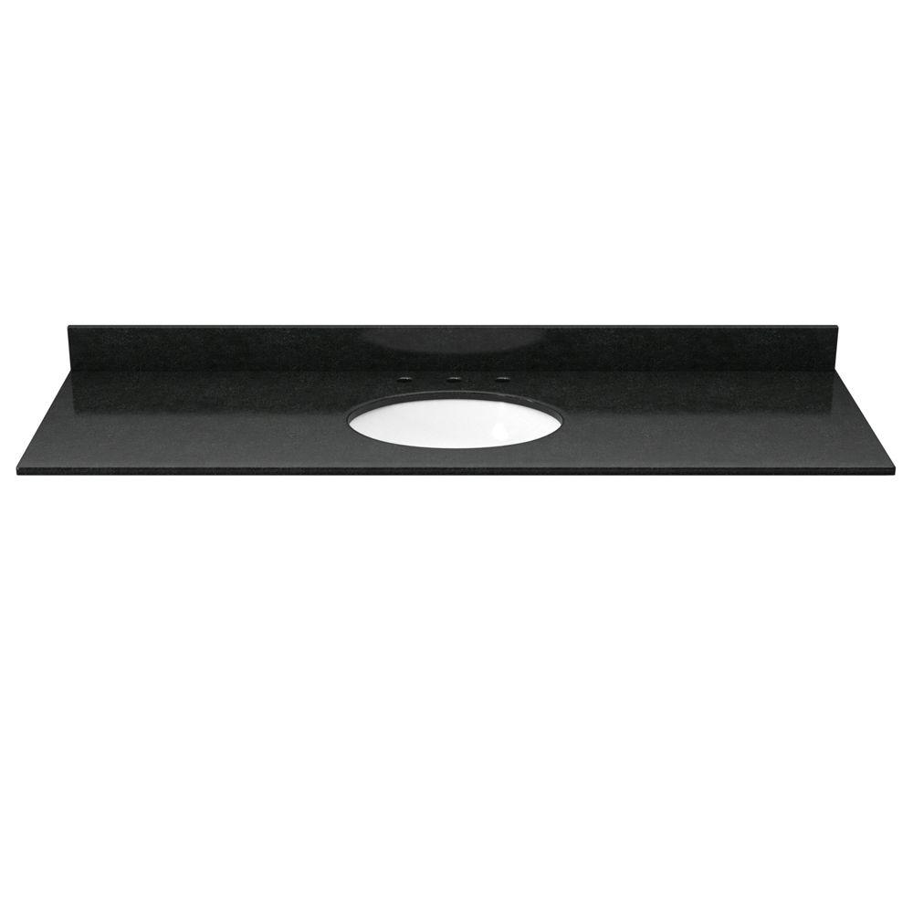 49 in. Granite Vanity Top in Absolute Black with White Basin
