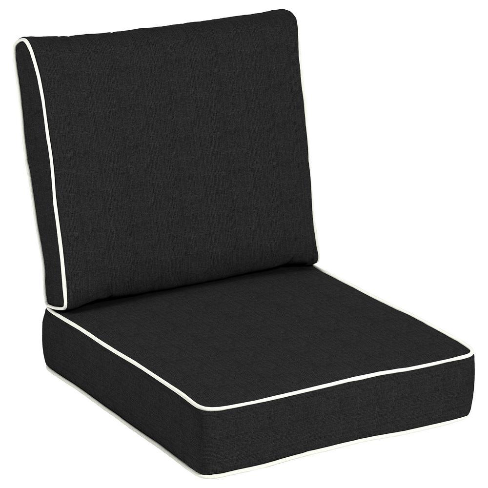24 x 24 Sunbrella Canvas Black Outdoor Lounge Chair Cushion