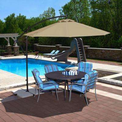 Santiago 10 ft. Octagonal Cantilever Patio Umbrella in Beige Sunbrella Acrylic