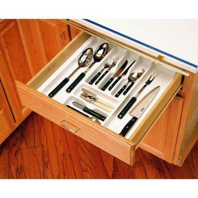 2.38 in. H x 21.87 in. W x 21.25 in. D Extra Large Glossy White Cutlery Tray Drawer Insert