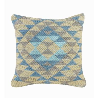 Kian Blue / Gray Southwest Geometric Cozy Poly-Fill 18 in. x 18 in. Throw Pillow
