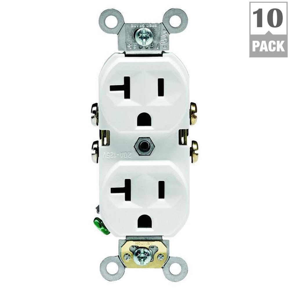 Wiring Double Duplex Receptacles In Room Diagram Third Level Outlet Leviton 20 Amp Commercial Grade White 10 Pack M02 A Quad Receptacle