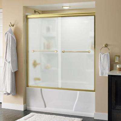 Crestfield 60 in. x 58-1/8 in. Semi-Frameless Sliding Bathtub Door in Brass with Niebla Glass