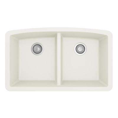 Undermount Quartz Composite 32 in. 50/50 Double Bowl Kitchen Sink in White