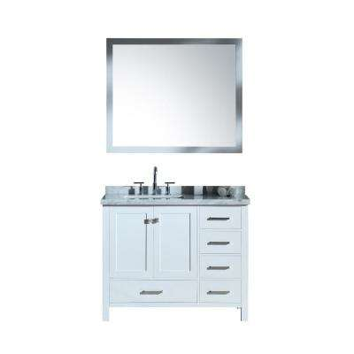 Cambridge 43 in. Bath Vanity in White with Marble Vanity Top in Carrara White with White Basins and Mirror