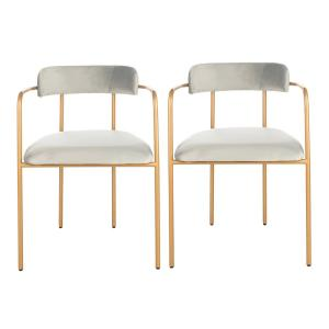 Superb Safavieh Camille Gray Gold Accent Chair Set Of 2 Ach6201A Gmtry Best Dining Table And Chair Ideas Images Gmtryco