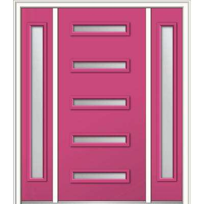 64 in. x 80 in. Davina Right-Hand Inswing 5-Lite Frosted Modern Painted Steel Prehung Front Door with Sidelites