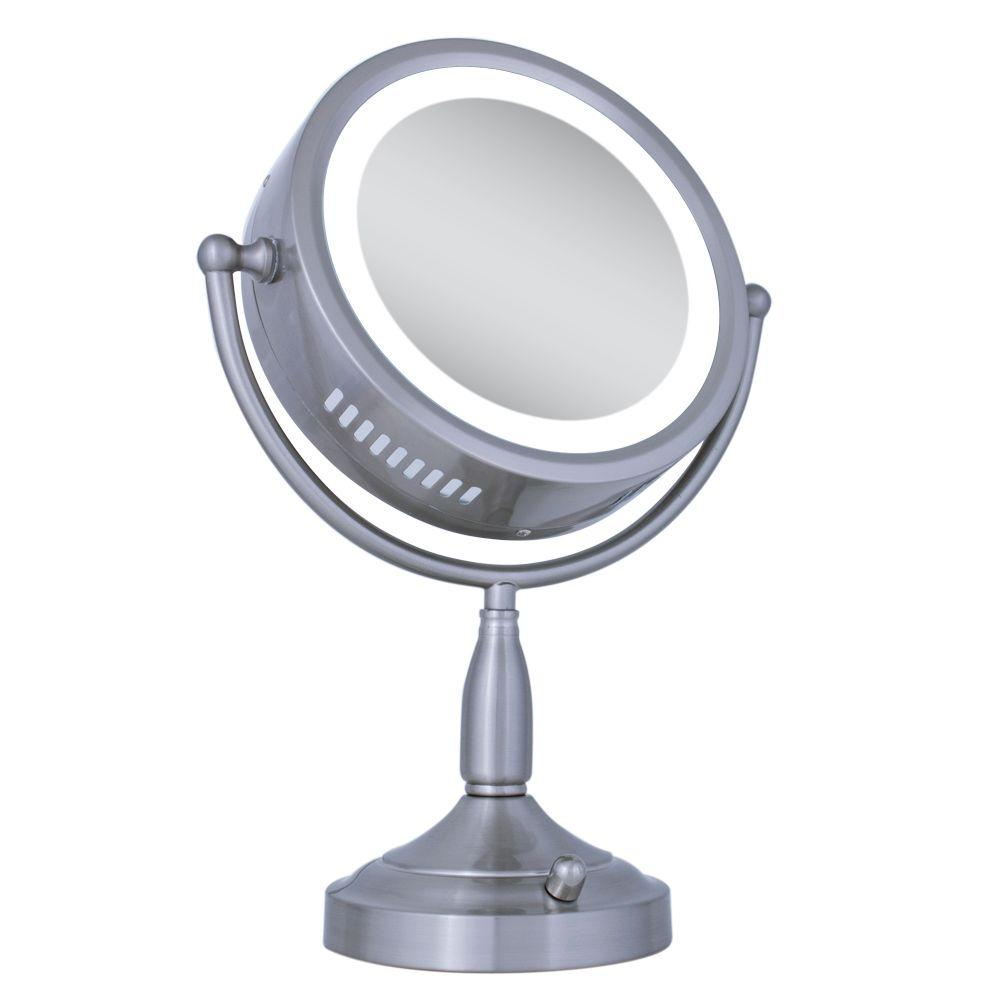 Zadro Lighted 8X/1X Round Vanity Makeup Mirror in Satin Nickel
