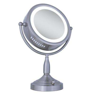 Lighted 8X/1X Round Vanity Mirror in Satin Nickel