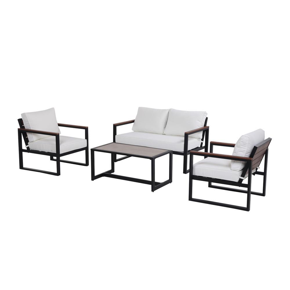 West Park 4-Piece Aluminum Conversation Set with White Cushions
