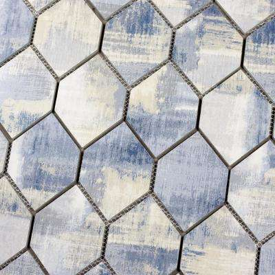 Nature Honeycomb Cement Blue 9 in. x 12 in. x 6.35 mm Glass Mosaic Tile