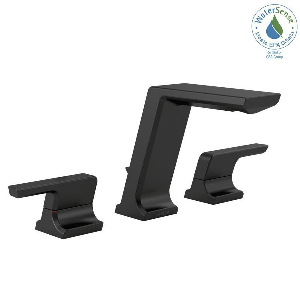 Delta Pivotal 8 in. Widespread 2-Handle Bathroom Faucet with Metal Drain Assembly in Matte Black