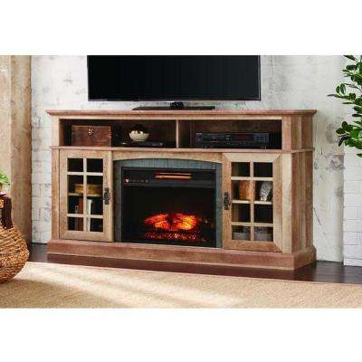 TV Stand Infrared Electric Fireplace In Natural Beige Driftwood Finish