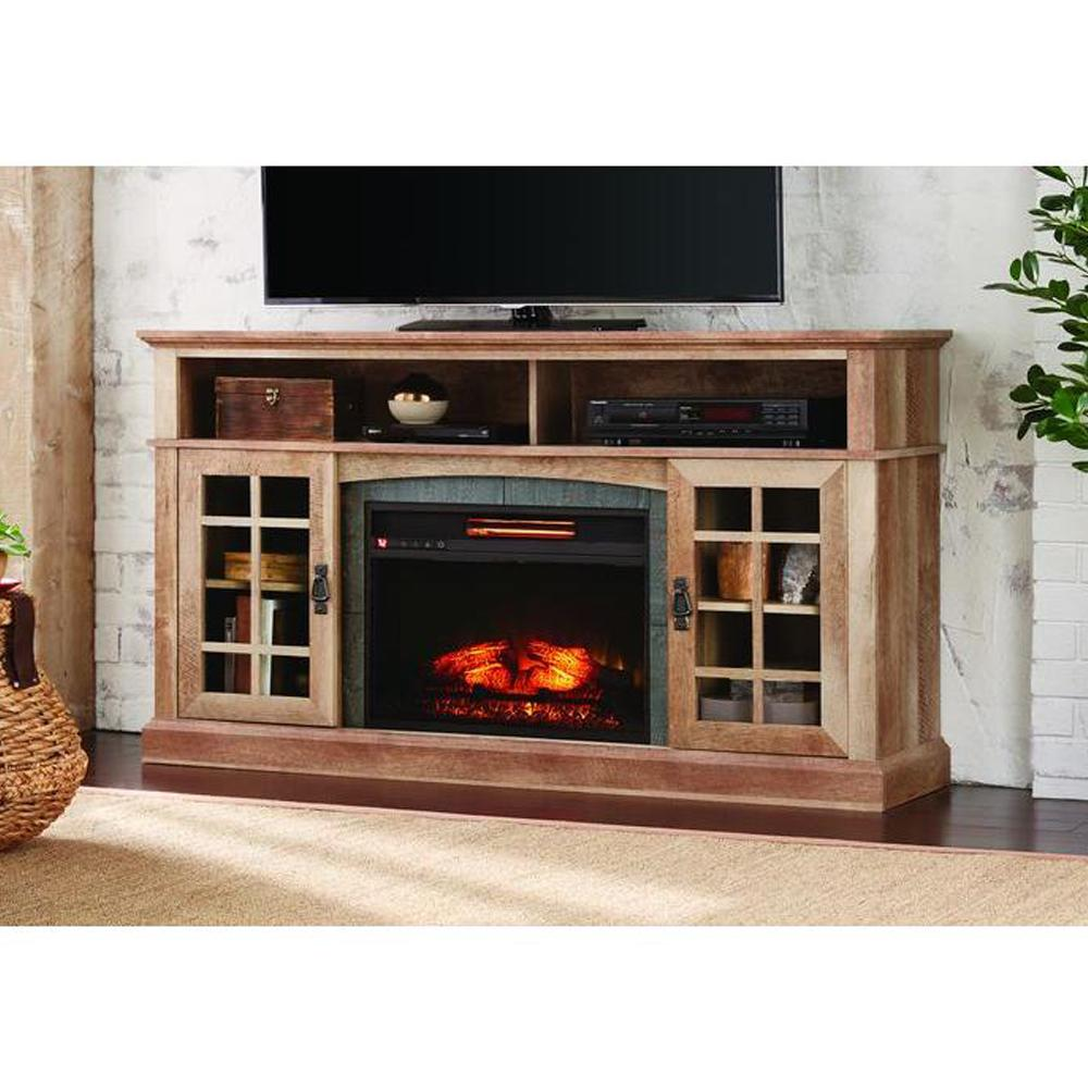 Transform your living room with this Home Decorators Collection Brookdale Media Console Infrared Electric Fireplace in Natural Beige Driftwood Finish.