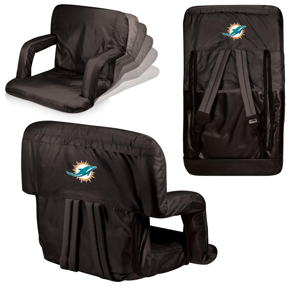 Picnic Time Ventura Miami Dolphins Black Patio Sports Chair with Digital Logo