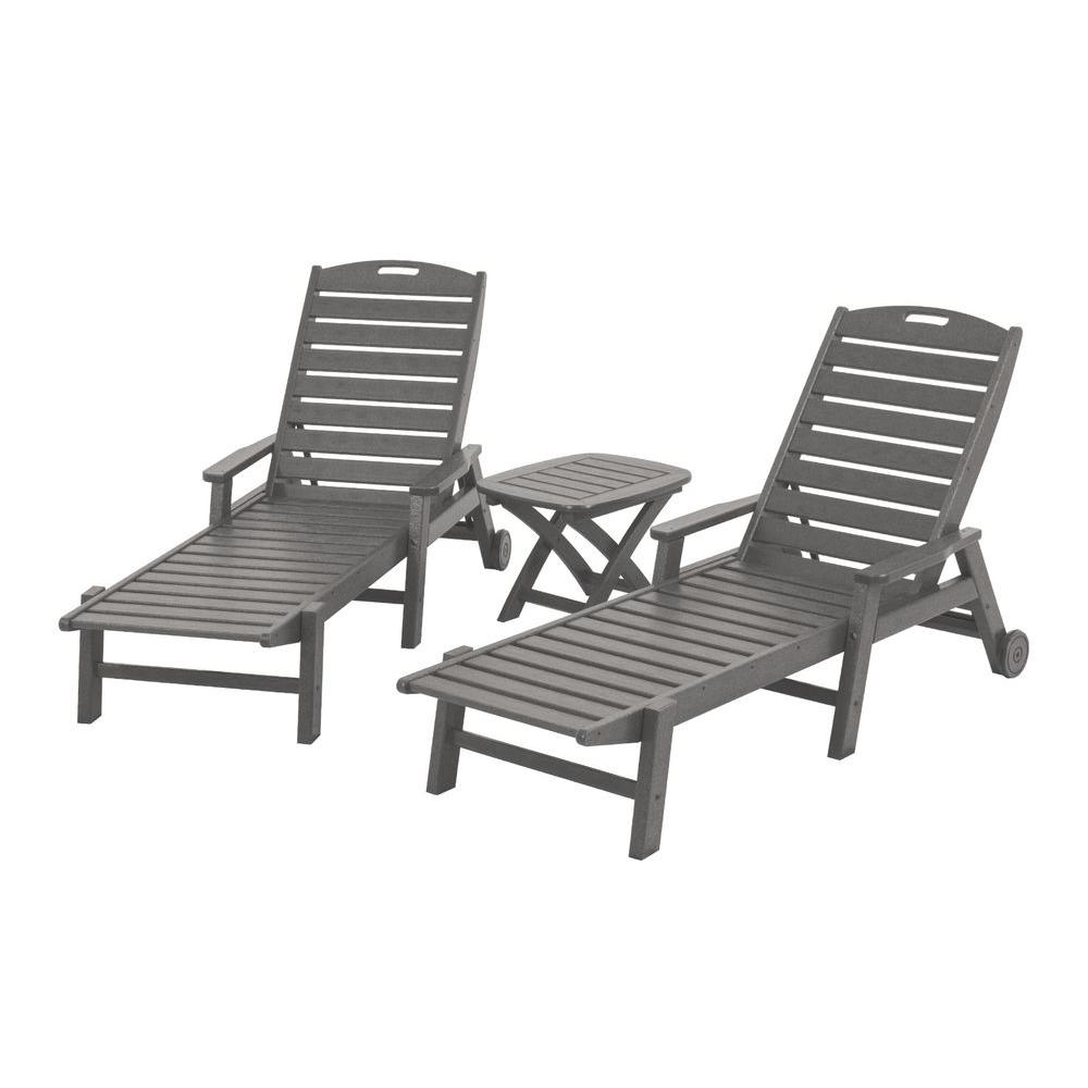 Nautical Slate Grey 3-Piece Plastic Outdoor Patio Chaise Set