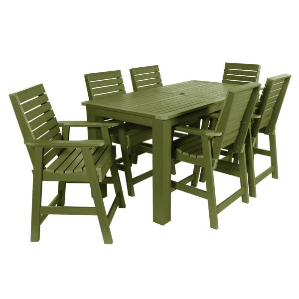 Weatherly Dried Sage 7-Piece Recycled Plastic Rectangular Outdoor Balcony Height Dining Set