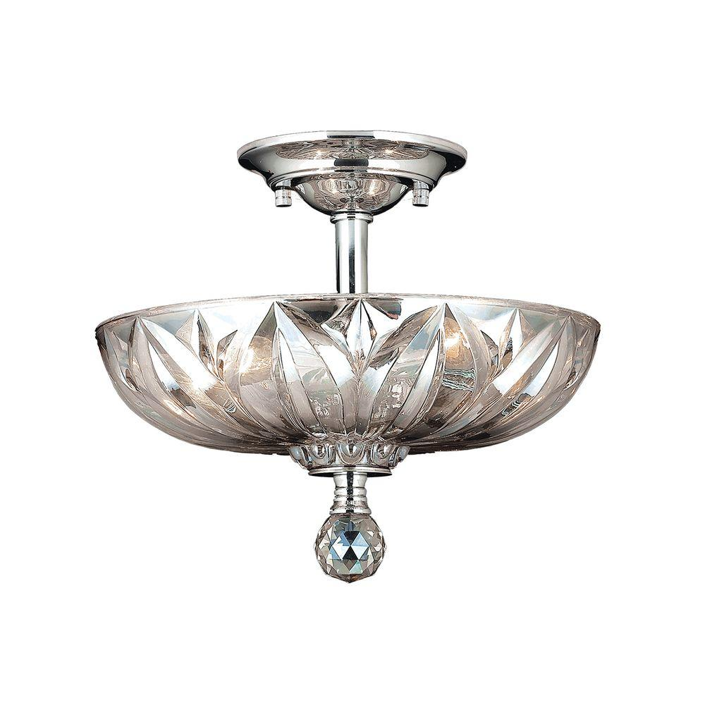 Worldwide Lighting Mansfield 3 Light Chrome Clear Crystal Semi Flush Mount