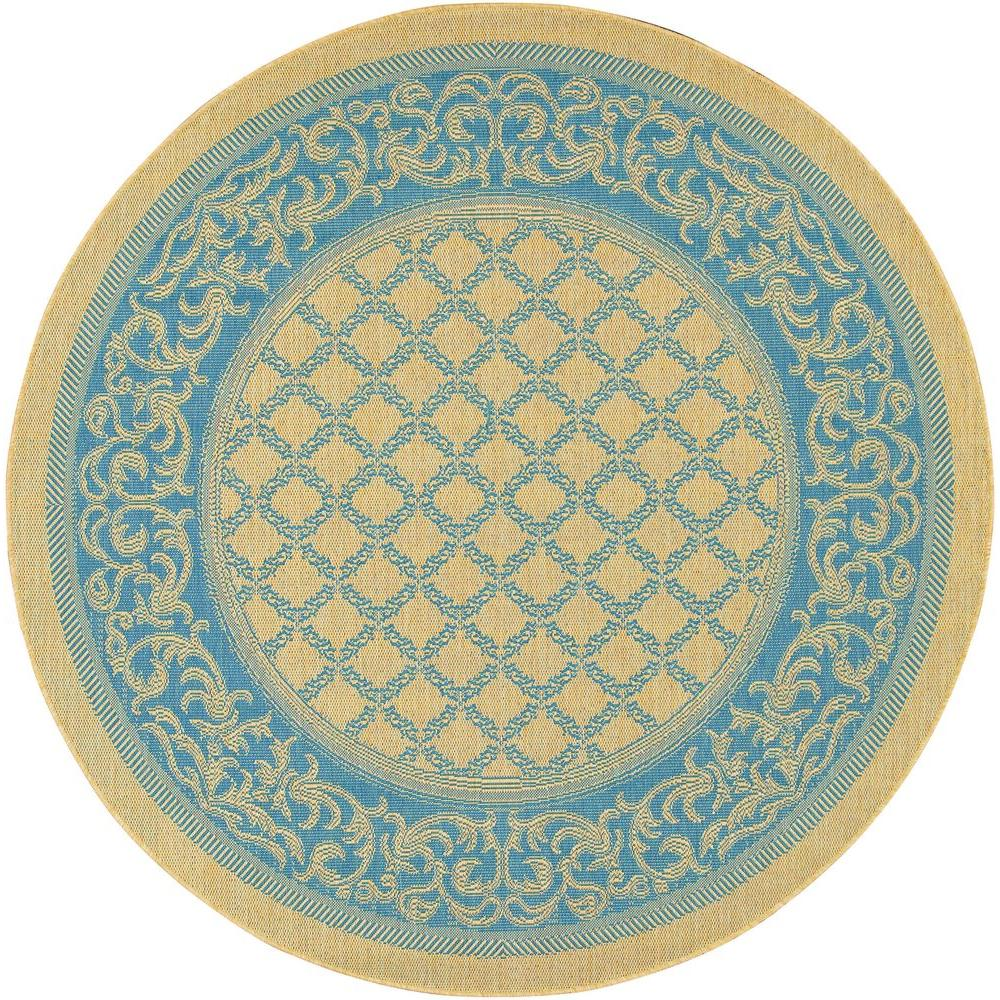 Couristan Recife Garden Lattice Natural Blue 8 ft. 6 in. x 8 ft. 6 in. Round Area Rug