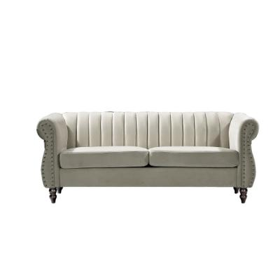 Louis 76.4 in. Cream Velvet 3-Seater Chesterfield Sofa with Nailheads