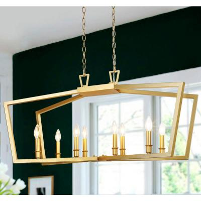 Modern Gold Farmhouse Island Chandelier 8-Light 38 in. Adjustable Geometric Candle-Style LED Compatible