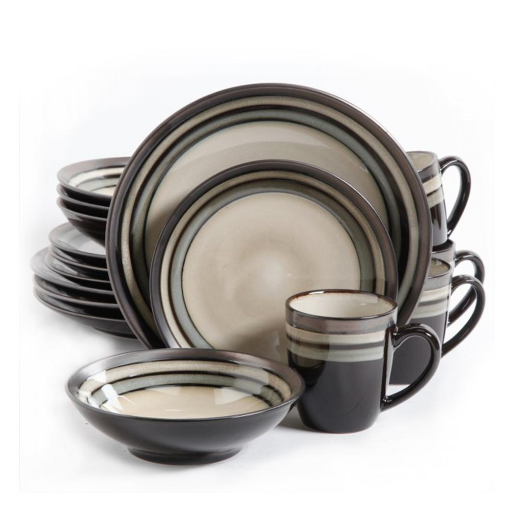 Lewisville 16-Piece Casual Gray Earthenware Dinnerware Set (Service for 4)
