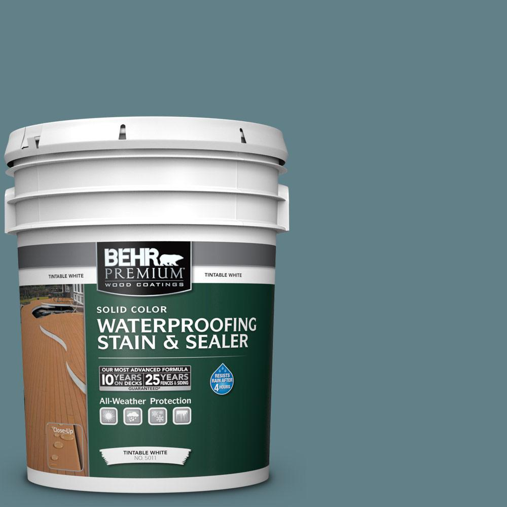 Exterior White Stain For Wood: BEHR Premium 5 Gal. #SC-113 Gettysburg Solid Waterproofing