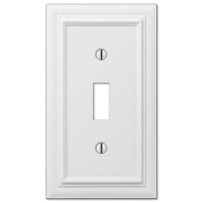 Continental 1 Gang Toggle Metal Wall Plate - White