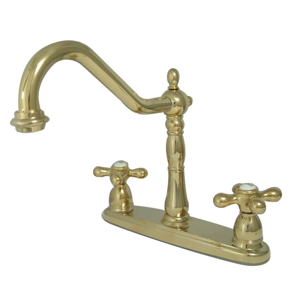 polished brass kitchen faucets kingston brass heritage 2 handle standard kitchen faucet in polished brass hkb1792axls the 5817