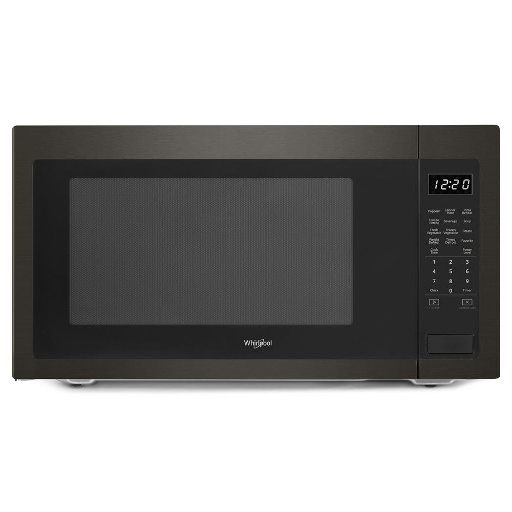 Whirlpool 2 Cu Ft Countertop Microwave In Fingerprint Resistant Black Stainless With 1 200