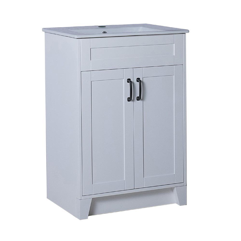 Coronado 24 in. W x 18 in. D x 36 in. H Single Vanity in White with Ceramic Vanity Top in White with White Basin