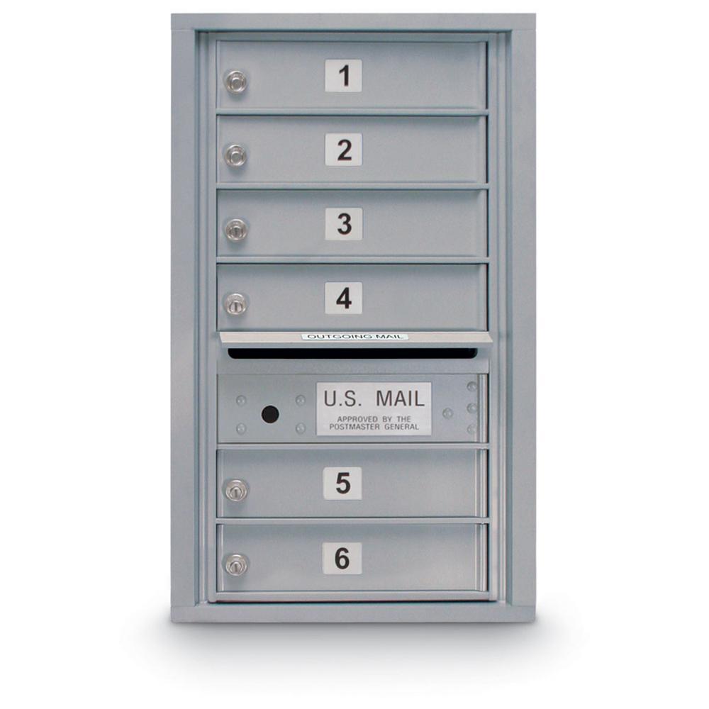 6 Door Standard 4C Mailbox (Silver Powder Coat)
