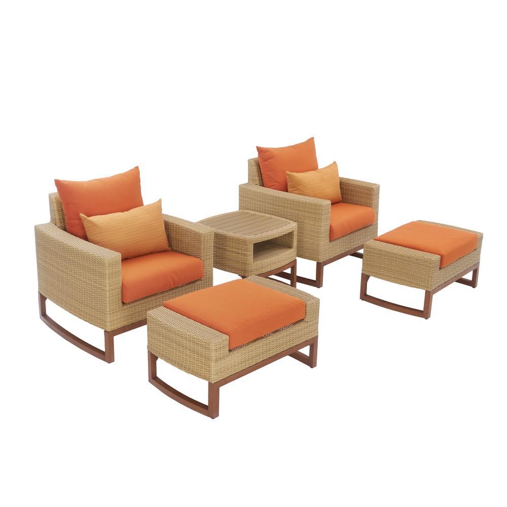 RST Brands Mili 5-Piece Wicker Patio Deep Seating Conversation Set with Sunbrella Tikka Orange Cushions