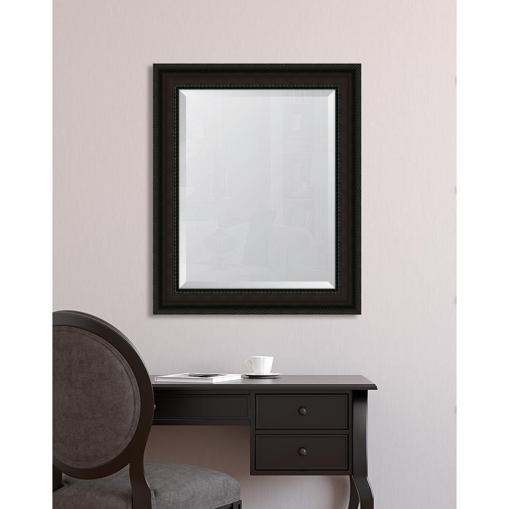 29 in. x 35 in. Framed 3 5/8 in. Mahogany Rope Scoop Resin Frame Mirror