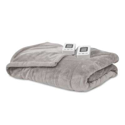 Soft Grey 100% Polyester Fleece King Warming Blanket