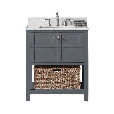 Makena 30 in. W x 22 in. D x 34.2 in. H Bath Vanity in Cashmere Grey with Marble Vanity Top in White with White Basin
