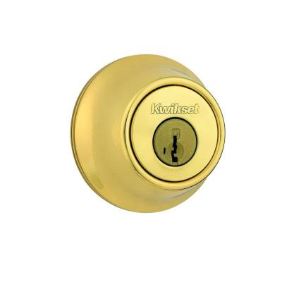 660 Polished Brass Single Cylinder Deadbolt Featuring SmartKey Security with Microban Antimicrobial Technology
