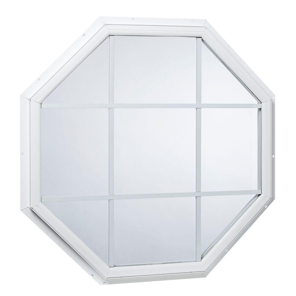 Tafco Windows 31 5 In X Fixed Octagon Geometric Vinyl Window With Grid White