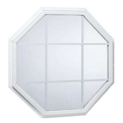 31.5 in. x 31.5 in. Fixed Octagon Geometric Vinyl Window with Grid White