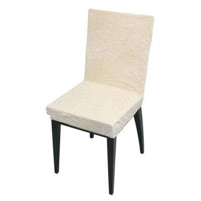 41.7 in. x 15.8 in. Zig Zag Ivory Stretch Dining Chair Slip Cover
