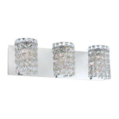 Queen 3-Light Chrome Vanity Light with Clear Crystal Glass