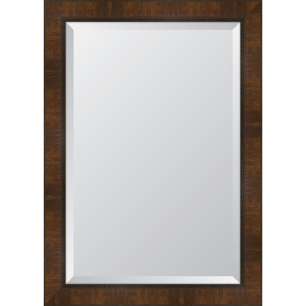 Medium Rectangle Walnut Beveled Glass Classic Mirror (30 in. H x 42 in. W)