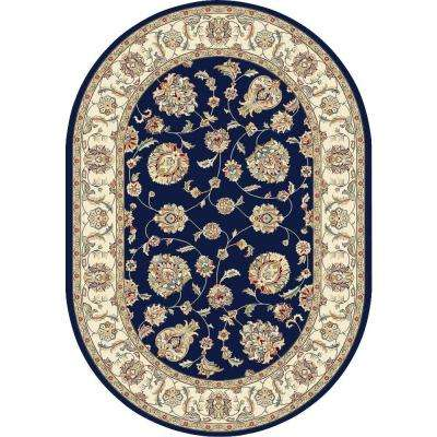 Judith Blue/Ivory 7 ft. x 10 ft. Indoor Oval Area Rug