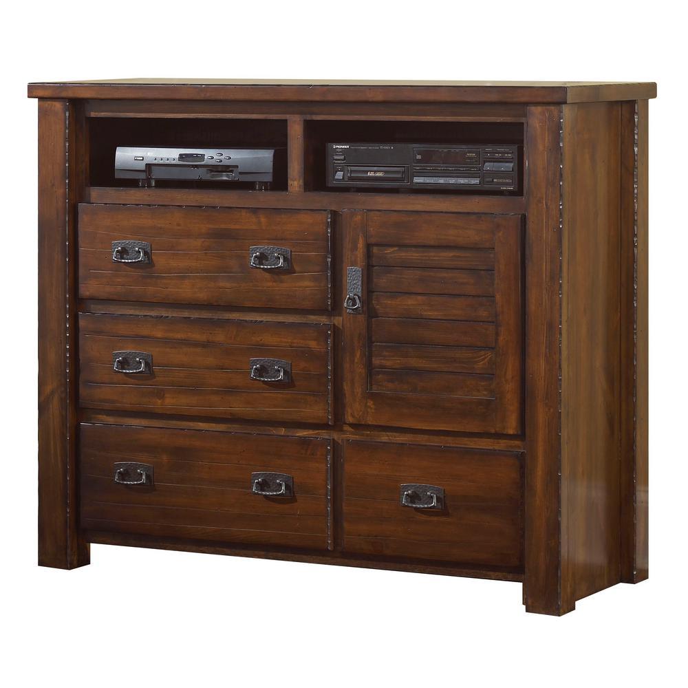 Trestlewood 4-Drawer Mesquite Pine Media Chest
