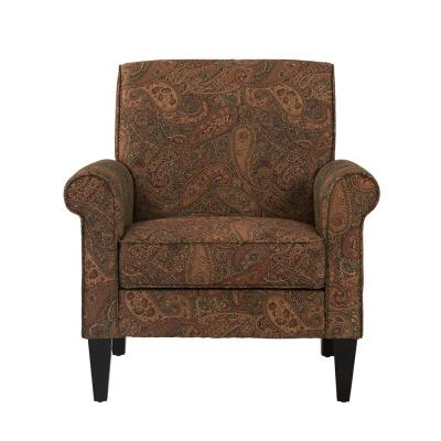 Jean Paisley Multicolored Paisley with Burgundy Arm Chair (No Nail Head Trim)