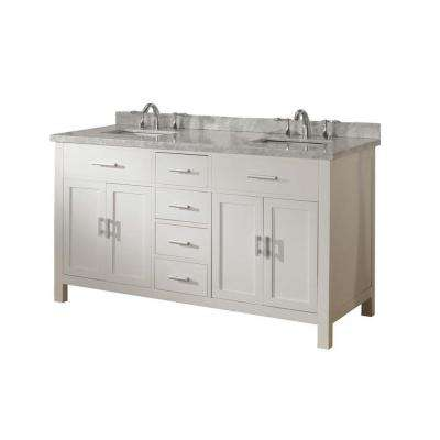 Hutton Spa 63 in. Double Vanity in Pearl White with Marble Vanity Top in Carrara White