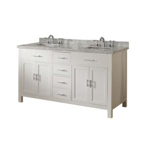 Click here to buy Direct vanity sink Hutton Spa 63 inch Double Vanity in Pearl White with Marble Vanity Top in Carrara White by Direct vanity sink.