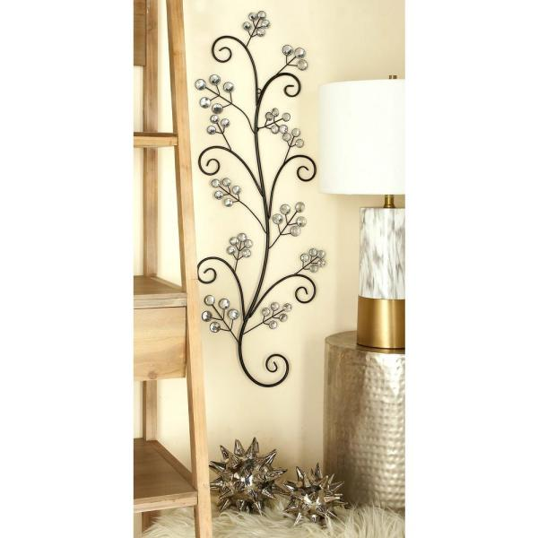 Litton Lane 14 in. x 37 in. Glitz-Inspired Iron Scrollwork Tree Wall Sculpture