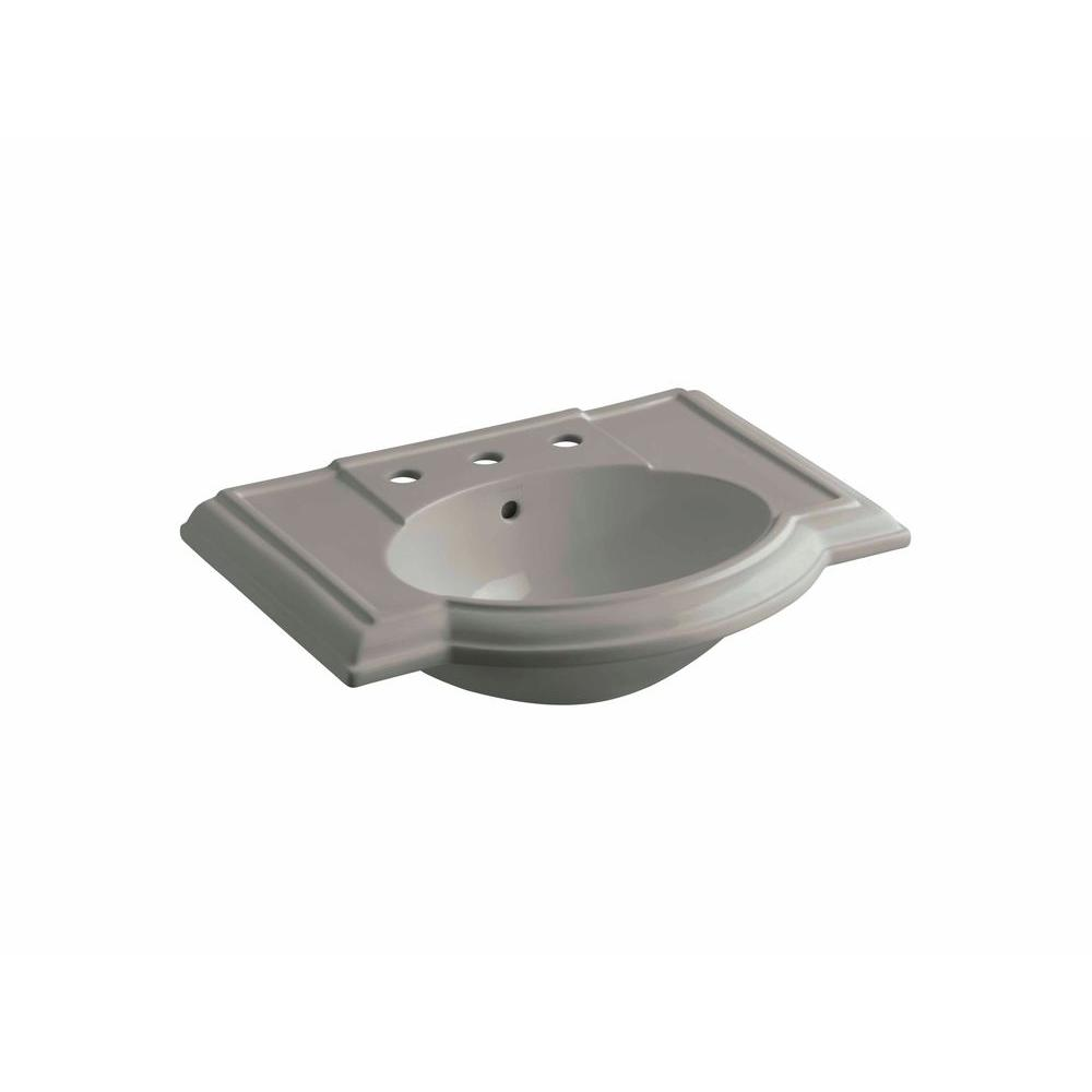 KOHLER Devonshire 4-7/8 in. Vitreous China Pedestal Sink Basin in Cashmere with Overflow Drain