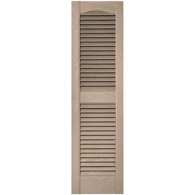 12 in. x 43 in. Louvered Vinyl Exterior Shutters Pair in #023 Wicker
